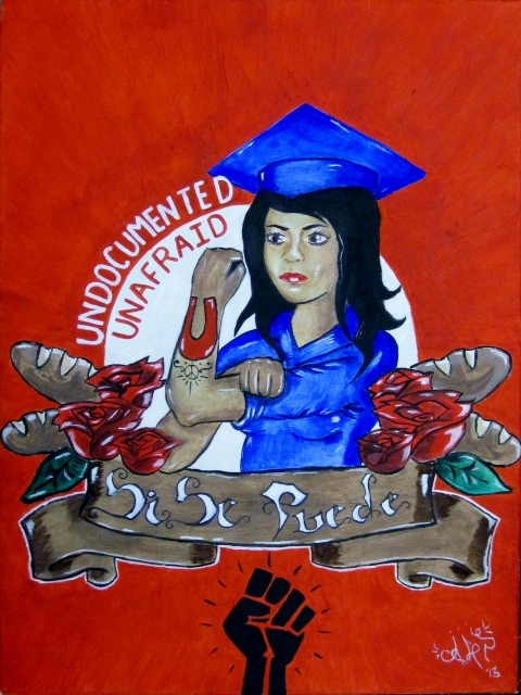 "Painting of a woman in cap and gown with the words ""undocumented"" and ""unafraid"" in the background."