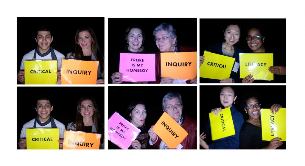 "Photographs of people holding signs that say ""Critical Literacy."""