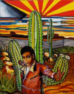 Painting of a young man wrapped to a large cactus with barbed wire.